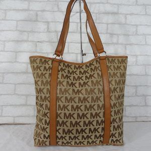Michael Kors Canvas Leather Brown MK Tote Bag